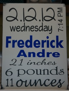 Baby Announcement Sign - Frederick Andre