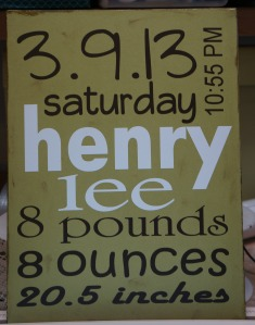 So Pretty in Paint Baby Announcement Sign - Henry Lee